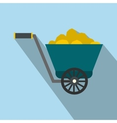 Trolley with gold ore flat icon vector image