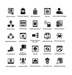web hosting glyph icon designs 1 vector image