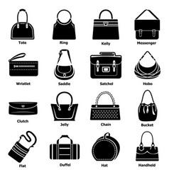 Woman bag types icons set simple style vector