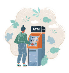 woman withdrawing cash vector image