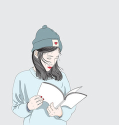 women are reading test prep books in the winter vector image