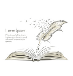 Writing feather paint with flying birds and book vector