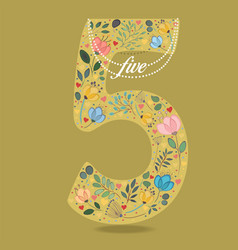 Yellow number five with floral decor and necklace vector