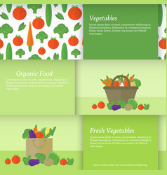 banners or cards with vegetables vector image