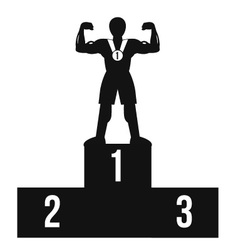 Bodybuilder on winner podium black icon vector image