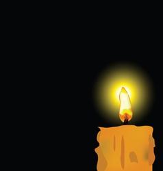 burned candle on black background vector image