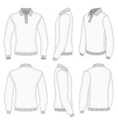 Mens white long sleeve polo shirt vector image vector image
