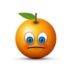 orange sad emoji vector image vector image