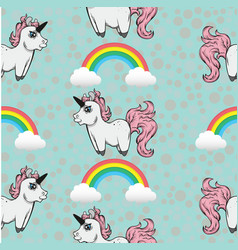 seamless pattern with unicorns and rainbows vector image