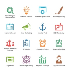 SEO and Internet Marketing Colored Icons- Set 5 vector image