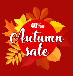 autumn sale banner with autumn leaves on red vector image vector image