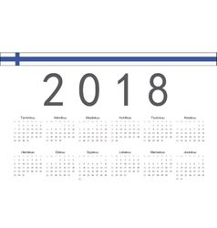Finnish 2018 year calendar vector image vector image