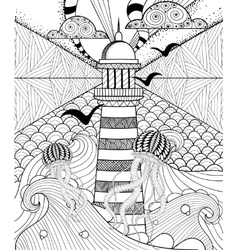 Hand drawn adult coloring page artistically Sea vector image