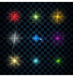 Shine colorful stars glitters vector image