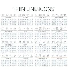 Thin line black and white vector