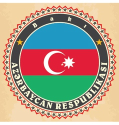 Vintage label cards of Azerbaijan flag vector image vector image