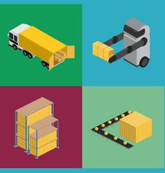 warehouse logistics isometric icon set vector image vector image