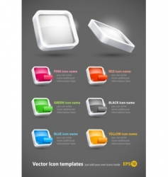 3d color icons set vector image vector image