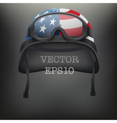 Background of American helmet and goggles vector image vector image
