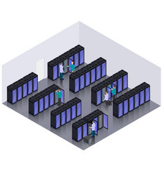 isometric datacenter hosting servers room concept vector image vector image