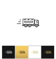 Speeding delivery symbol or truck linear vector image vector image