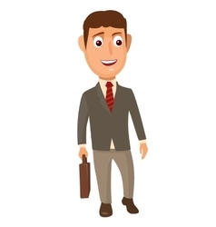 Standing businessman holding a briefcase and vector image vector image