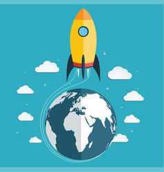start up the space rocket into space vector image
