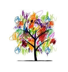 Abstract tree with children paintings vector image