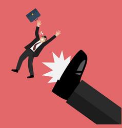 businessman kicked by his boss big foot vector image vector image