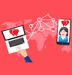 concept communicate about love in world map vector image vector image