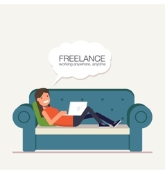 Freelancer girl with a laptop lying on bed Remote vector image vector image