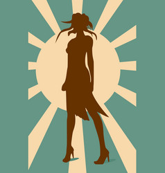 sexy woman silhouette in short dress vector image