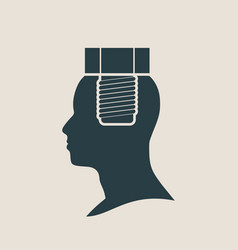 silhouette of a mans head with screw vector image vector image