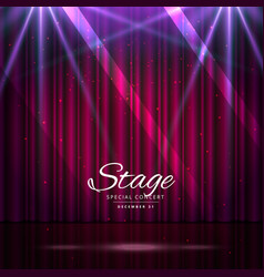 stage with closed curtains and spotlights vector image vector image