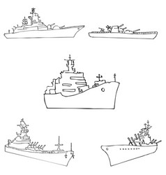 warships sketch by hand pencil drawing by hand vector image