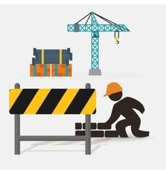 worker construction brick wall barrier crane vector image vector image