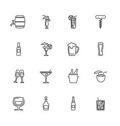 Alcoholic - flat icons vector