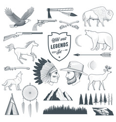 american legends set vector image