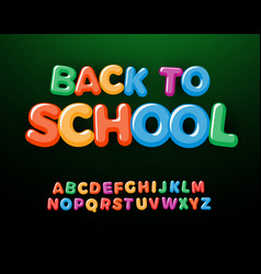 back to school letters and numbers set kids vector image