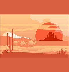 Beautiful scene nature peaceful desert vector