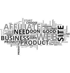 become an affiliate run an online business text vector image