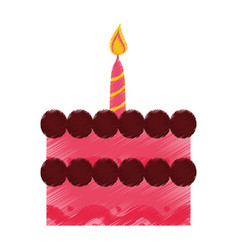 Birthday cake sweet candle decoration vector