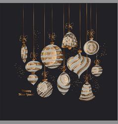 Black and gold elegant xmas balls vector