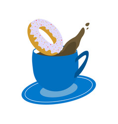 Blue cup of coffee with donut on white background vector