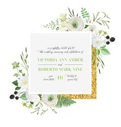 Botanical wedding invitation save date card vector