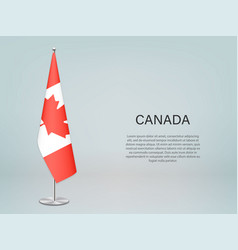 Canada hanging flag on stand template vector