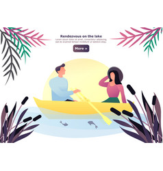 cartoon man and woman having date on lake vector image
