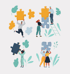 cartoon modern people with pieces puzzle set vector image
