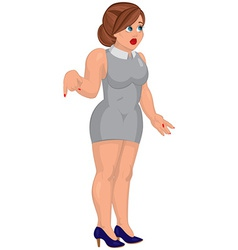 Cartoon young woman in gray mini dress standing vector image