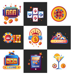 Casino online promo emblems with gambling vector